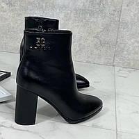 Женские ДЕМИ ботильоны черные на каблуке 10 см эко-кожа, фото 1