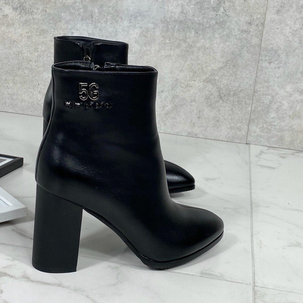 Женские ДЕМИ ботильоны черные на каблуке 10 см эко-кожа