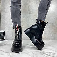 Женские ботинки ДЕМИ черные эко-кожа спереди молния, фото 1