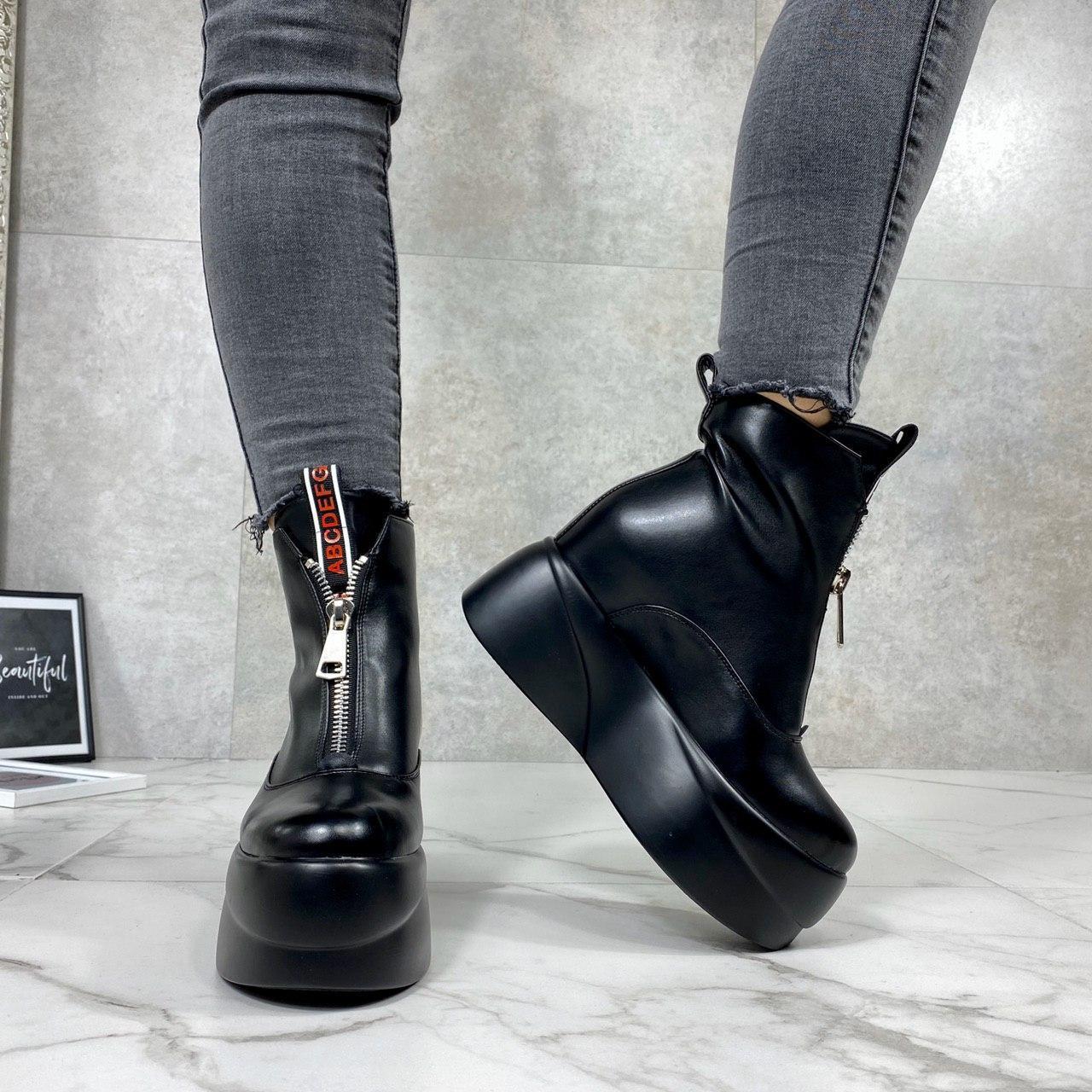 Женские ботинки ДЕМИ черные эко-кожа спереди молния