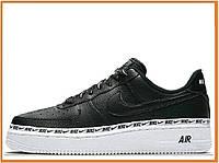 Мужские кроссовки Nike Air Force 1 SE Premium Low Black White (найк аир форс 1 премиум низкие, черные / белые)