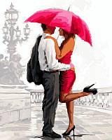 Раскраски для взрослых 40×50 см. Влюбленные под алым зонтом Художник Ричард Макнейл