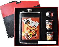 Подарочный набор Фляга Девушка с картами
