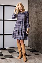 Женское платье клетчастое с завышенной талией