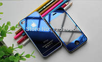 Защитное противоударное зеркальное каленое ультратонкое  синее стекло для Iphone 4, 4S