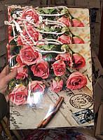 Подарочный бумажный пакет КВАДРАТ ''Розы желтые'' (24*24*10)