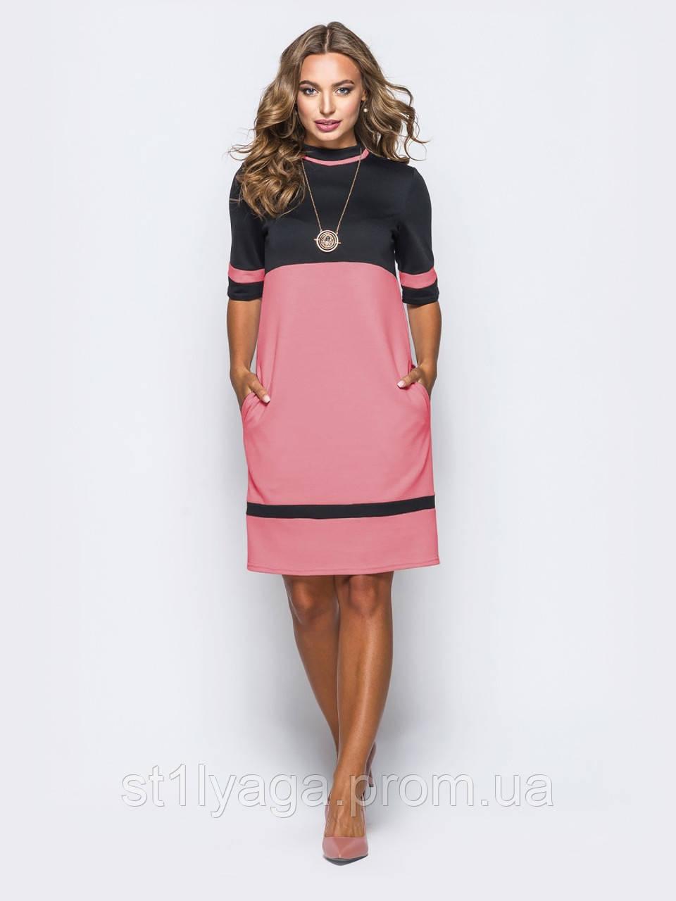 Трикотажное платье с рукавом три четверти и боковыми карманами