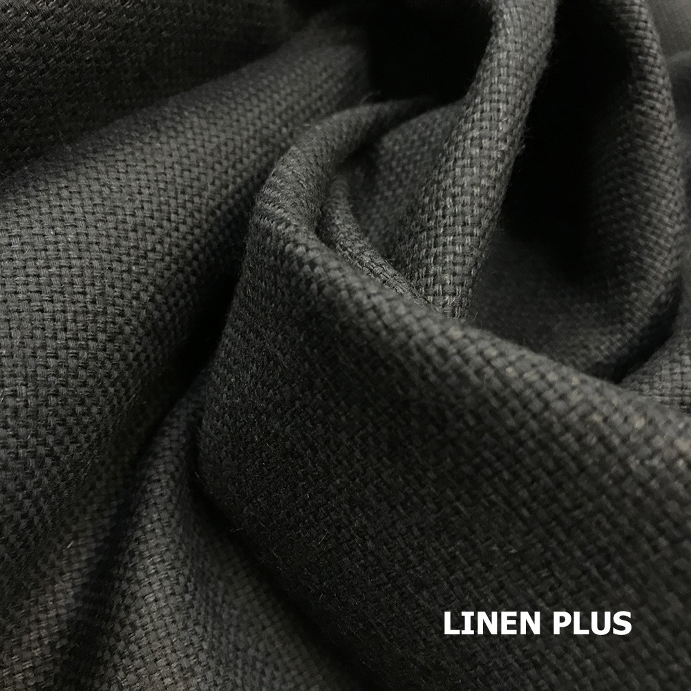 Щільна чорна лляна тканина, 54% льон, 46% бавовна