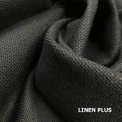 Плотная черная льняная ткань, 45% лен, 55% хлопок