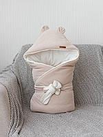 Демисезонный велюровый конверт-одеяло Velvet, бежевый, фото 1