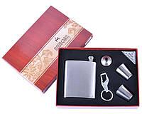Подарочный набор Серебряная фляга, 2 стопки, лейка и брелок