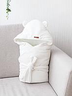 Демисезонный велюровый конверт-одеяло Velvet, молочный, фото 1