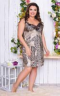 Сорочка женская шелк принт лео норма и Большого размера, фото 3