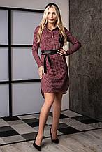 Красивое красное платье в мелкую клетку с кожаной отделкой