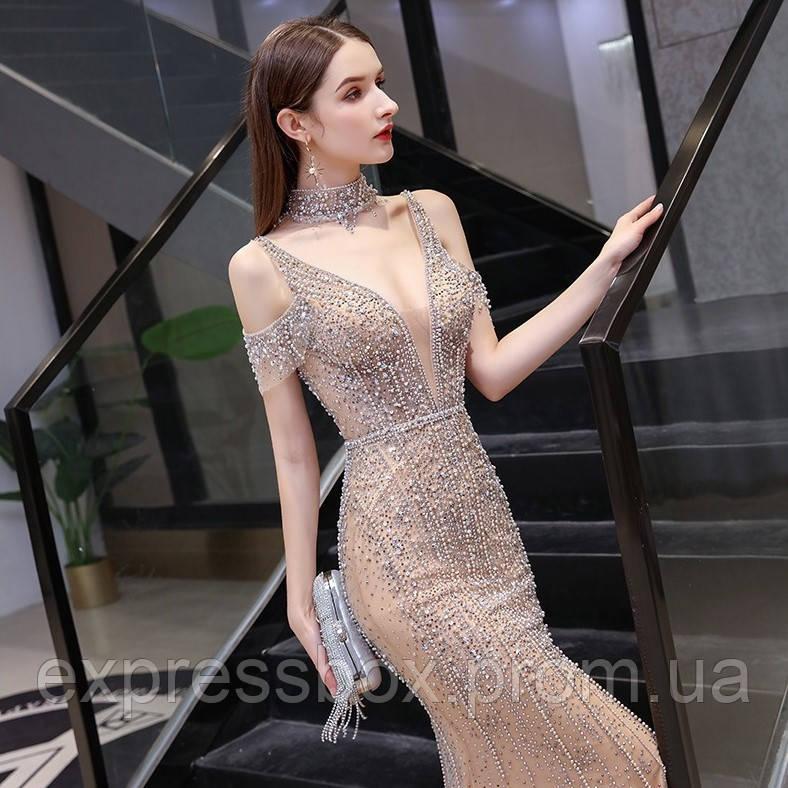 Опт бежевое вечерние роскошное платье. Весільна сукня рибка. Свадебное платье ручной работы