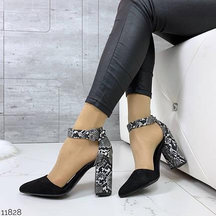 Черные туфли с цветным каблуком, фото 2