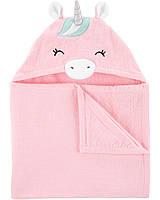 Большое махровое полотенце с капюшоном Единорог Carter's, детское банное полотенце 70*120 см