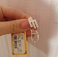 Сережки Діагональ срібні із золотими вставками та білими кубічними цирконами