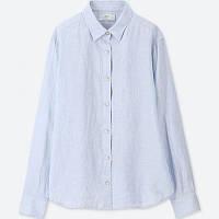 Голубая классическая льняная рубашкаUniqlo