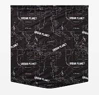 Мужской теплый зимний хомут шарф Urban Planet POLITICAL BLK на флисе черный