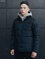 Зимняя молодежная синяя куртка стафф / Чоловіча зимова куртка Staff retro dark and navy MBM0025