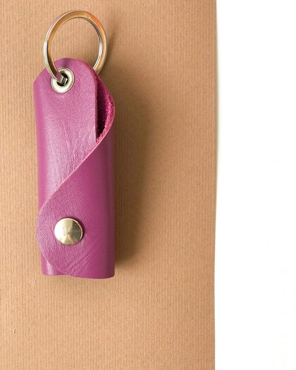 Шкіряна ключниця «Keysi Lilac» жіноча бузкова (9,5x9 см) ручної роботи