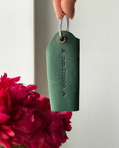 Шкіряна ключниця «Keysi Green» унісекс зелена (9,5x9 см) ручної роботи, фото 2