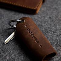 Кожаная ключница «Keysi Brown» мужская коричневая (9,5x9 см) ручной работы от pan Krepko
