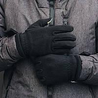 Молодежные сенсорные флисовые черные перчатки Staff fleece black KAR0013
