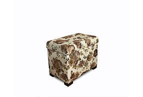Пуф Sovalle Турин с ящиком цветы 52 см x 32 см Белый 119-10 NEW