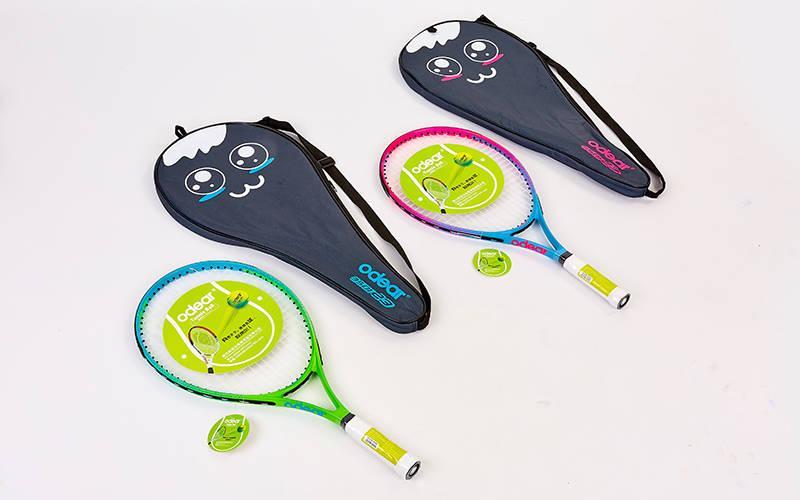 Ракетка для большого тенниса детская Odear (алюминий, 7-8лет, 23in, салат-голуб, гол-роз) PZ-BT-3501-23