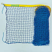 Сетка большой теннис Тренировочная (d-2,5мм, 12,8x1,08м, ячейка 4,5см, метал. трос., синий) PZ-SO-0950