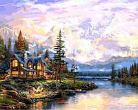 """Картина раскраска по номерам """"Дом в горах"""" на холсте 40Х50 см. Babylon VP1113"""