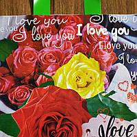 """Пакет з петлевий ручкою """"Троянди"""" 30х34см 25шт."""