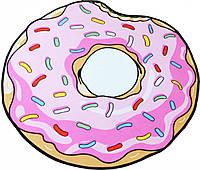 Коврик 3D круглый безворсовый с 3д принтом ковер для дома 80см Пончик