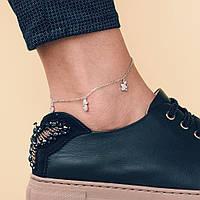 Серебряный браслет GS  на ногу с фианитами, фото 1