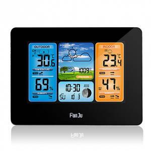 Метеостанція цифрова FanJu FJ3373 з гігрометром, термометром і барометром. Великий кольоровий дисплей. Чорна