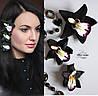 """""""Чёрная орхидеи"""" (3шт) заколки для волос с цветами ручной работы"""