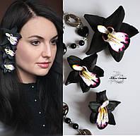 """""""Чёрная орхидеи"""" (3шт) заколки для волос с цветами ручной работы, фото 1"""