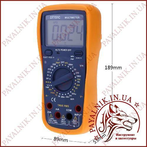 Мультиметр цифровой DIGITAL DT151C, измеритель емкости, частотомер, прозвонка