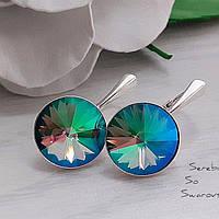 Сережки серебряные с кристаллами Сваровски