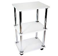 Косметологическая тележка, столик мастера маникюра 30х40х70см. Белая, материл ДСП (Мод. 001)