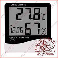 Термометр с измерением влажности и часами HTC-1