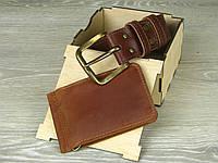 Мужской кожаный ремень , кожаный зажим для денег, подарочный набор мужчине