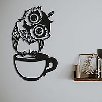 Картина из дерева Сова с чашкой 50x30 см
