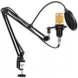 Студийный конденсаторный микрофон Music D.J. M-800 со стойкой и ветрозащитой Black/Gold, фото 2