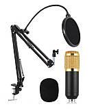 Студийный конденсаторный микрофон Music D.J. M-800 со стойкой и ветрозащитой Black/Gold, фото 3