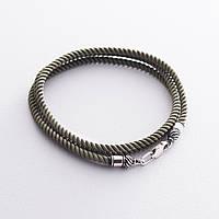 Шелковый  шнурок GS  цвета Хаки с серебряной застежкой (3мм)