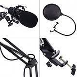 Студийный конденсаторный микрофон Music D.J. M-800 со стойкой и ветрозащитой Black/Gold, фото 4