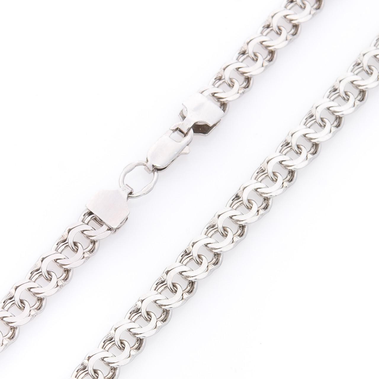 Серебряная родированная цепочка GS плетение Гарибальди